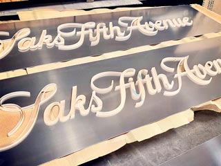 Saks Fifth Avenue Waterjet-Cut Signage